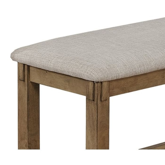 Fabric Gray and Brown Upholstered Bench