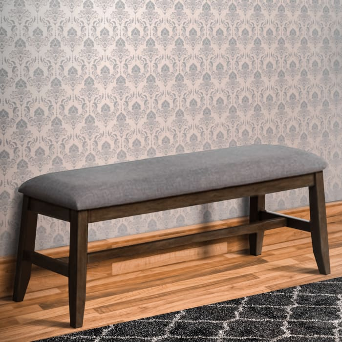 Brown and Gray Angled Leg Upholstered  Bench