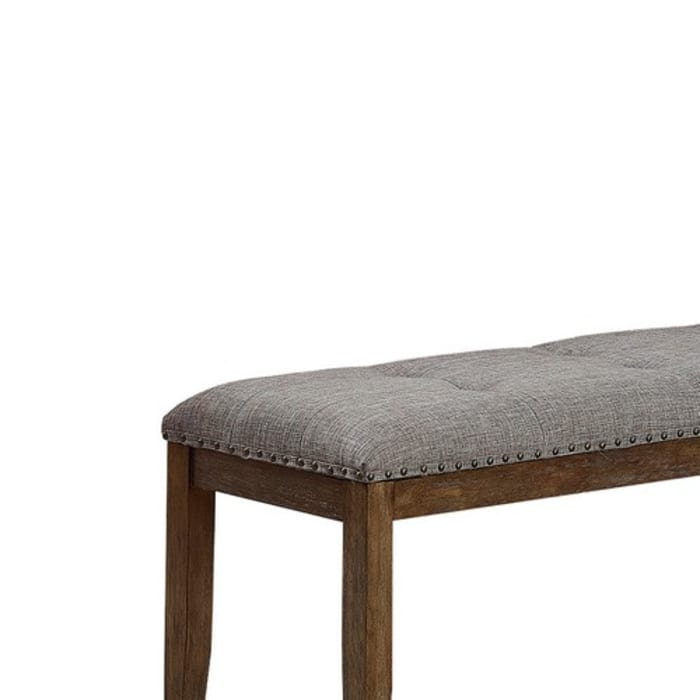 Nailhead Brown and Gray Upholstered Bench