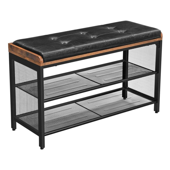 Tufted Leatherette Brown and Black Shoe Bench