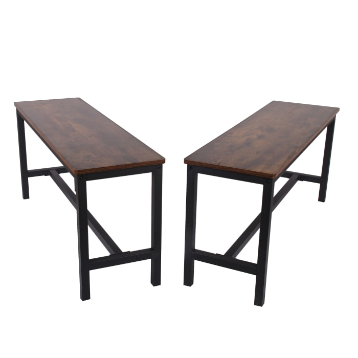 Wooden Rustic Brown and Black Set of 2 Indoor Benches