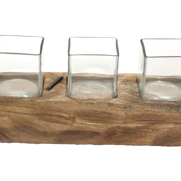Wooden with Five Glasses Brown Votive Candle Holder