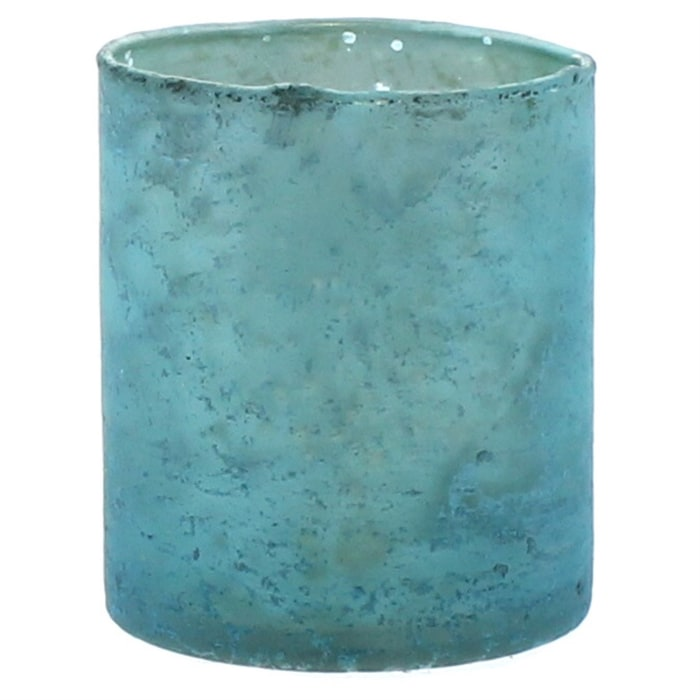 Cylindrical Glass with Semi Translucent Look Multicolor Set of 6 Votives