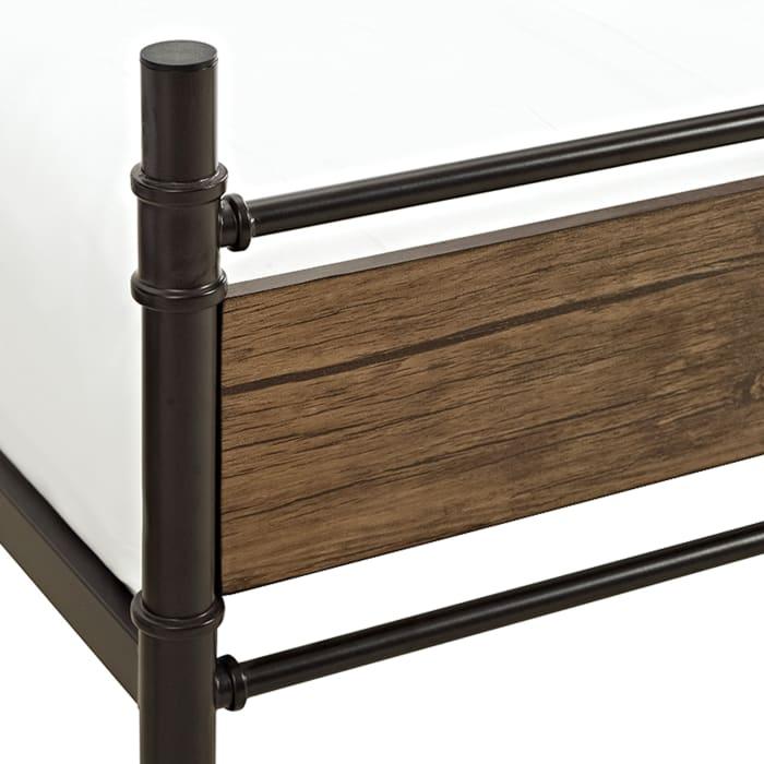 Vintage Wood and Black Metal Industrial Twin Bunk Bed