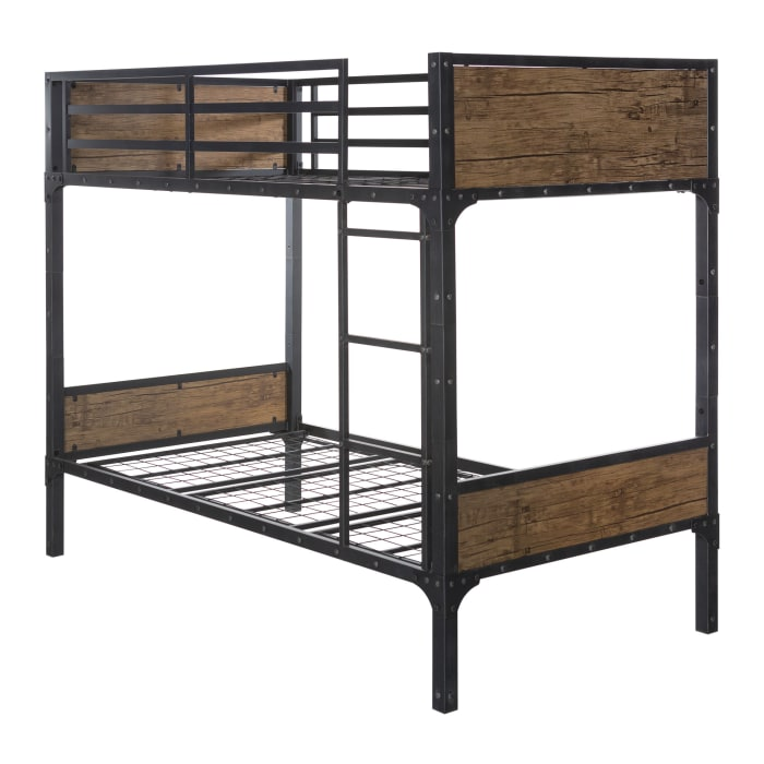 Vintage Wood and Brown Metal Industrial Twin Bunk Bed