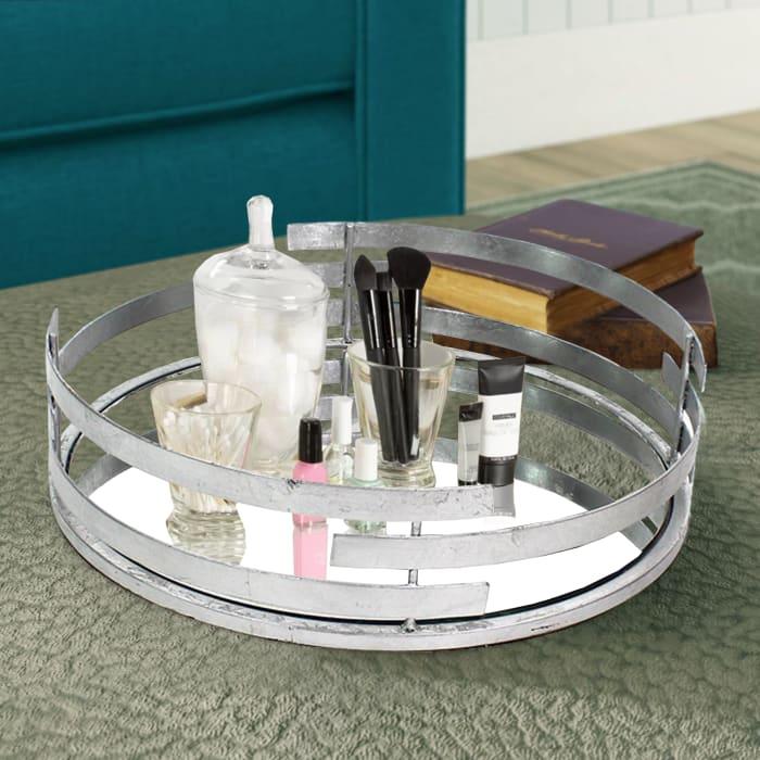 Mirror Insert Round Silver Metal Tray