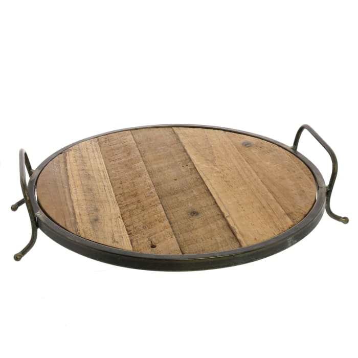 Metal Framed Wooden Decorative Tray