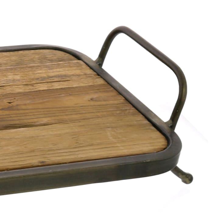Metal Framed Wooden Tray
