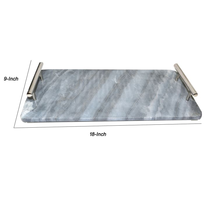Gray and Chrome Marble Tray