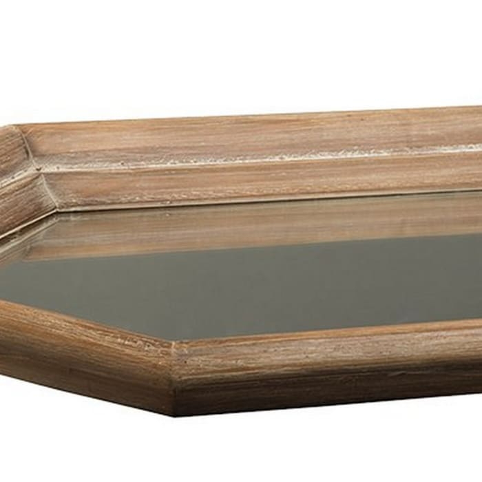 Geometric with Mirror Inlay Brown and Silver Tray