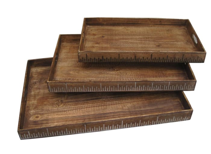 Wooden Brown Set of 3 Serving Trays