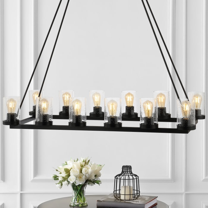 Athos Seeded Glass Iron LED Chandelier