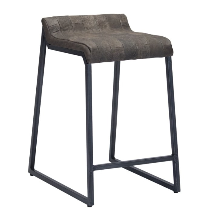 Brown Leather and Dark Grey Counter Stool