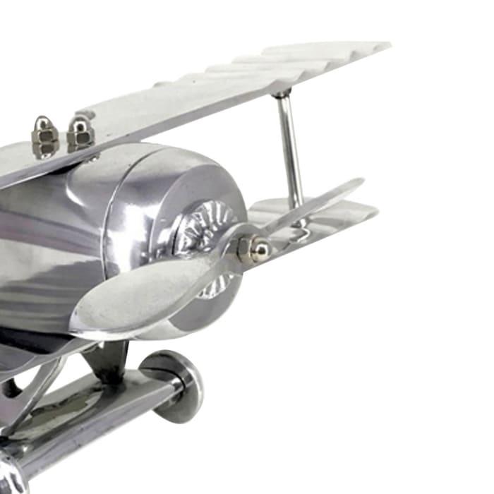 Contemporary Metal Biplane Silver Sculpture