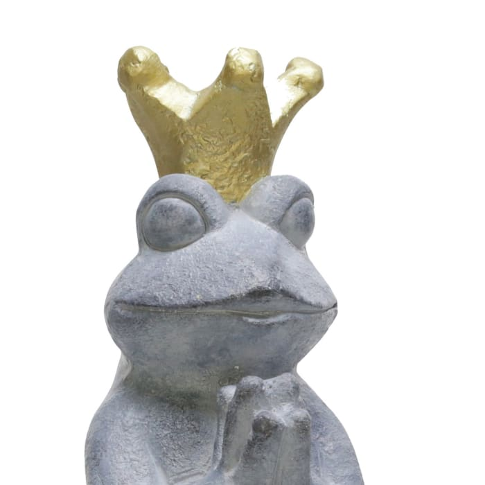 Polyresin Frog with Crown Figurine
