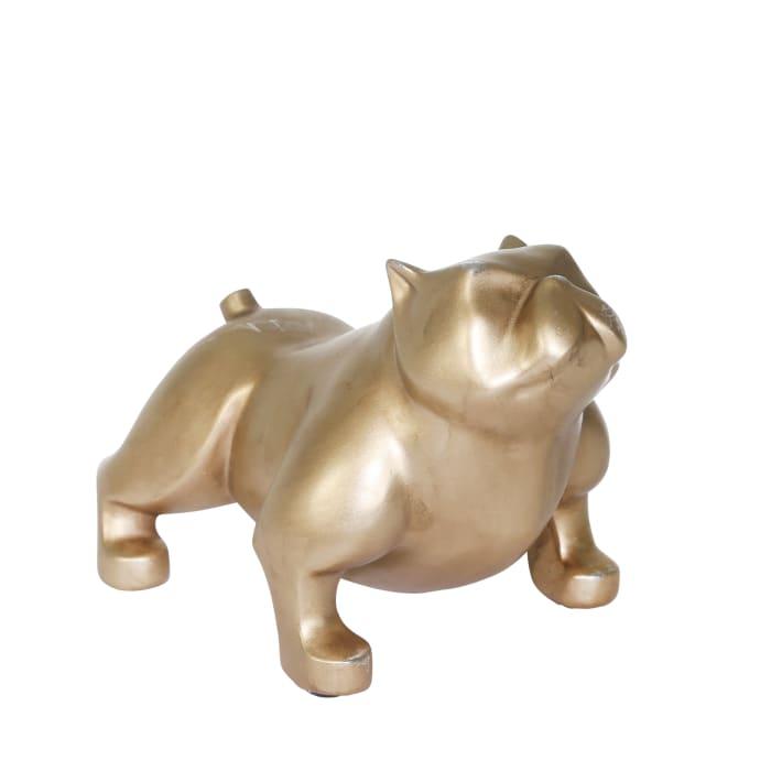 Standing Bulldog Gold Sculpture