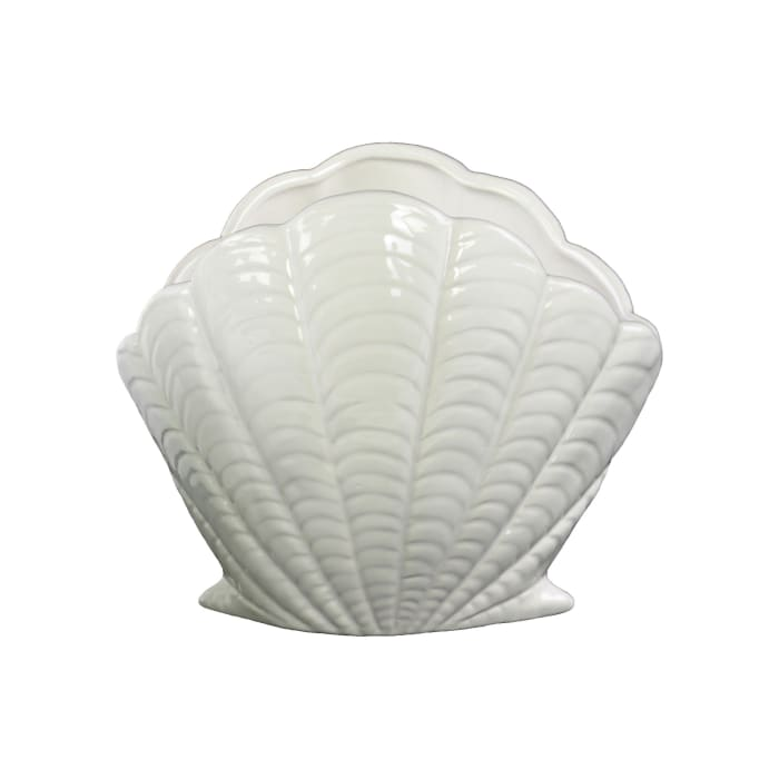 Open Clam Seashell White Set of 2 Sculptures