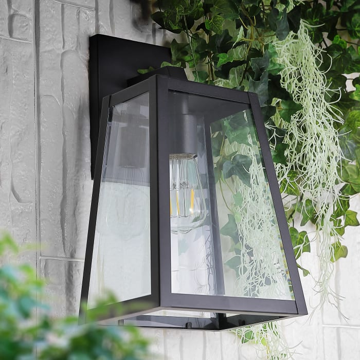 Pasadena Modern Industrial Iron and Glass Angled LED Outdoor Wall Sconce