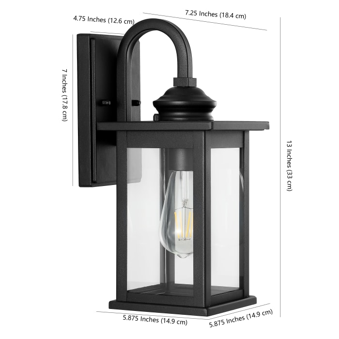 Cary Traditional Modern Iron and Glass Lantern LED Outdoor Wall Sconce