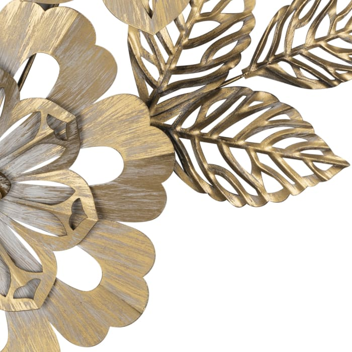 Golden Metallic Flower Wall Decor