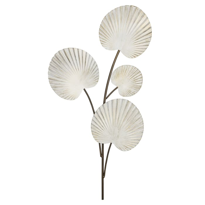 White Shell Leaves Metal Wall Decor