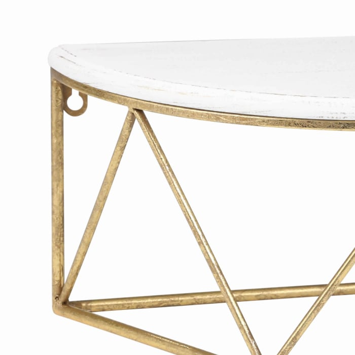 Wood and Metal White and Gold Half Moon Shaped Top Wall Shelf