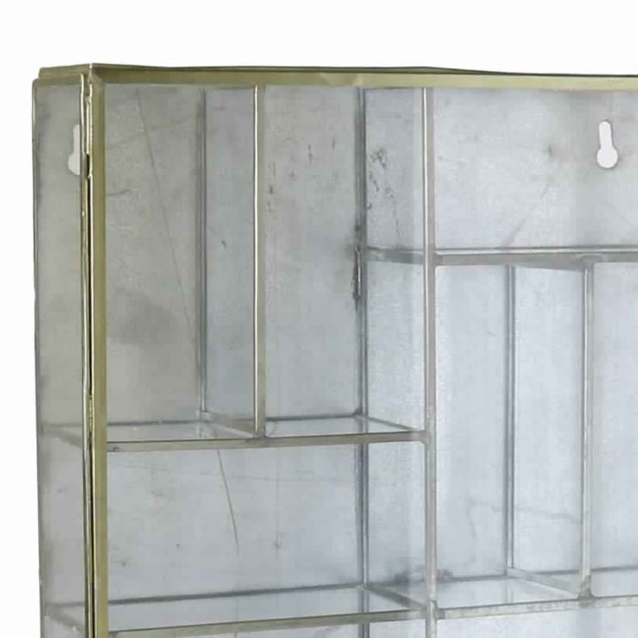 Gold and Clear Metal Glass Panel Inserts and Ample Storage Wall Case