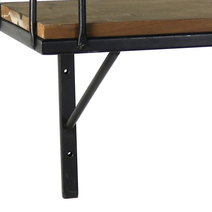 Brown Wood and Metal Rectangular with Guardrail Large Wall Shelf