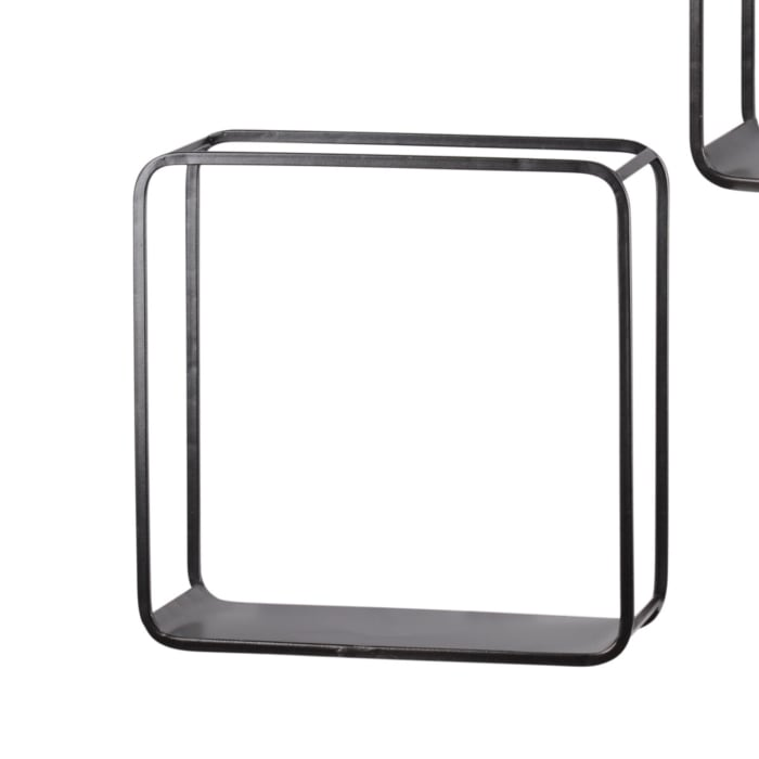 Black Tubular Metal Frame with Rounded Corners Set of 3 Wall Shelves