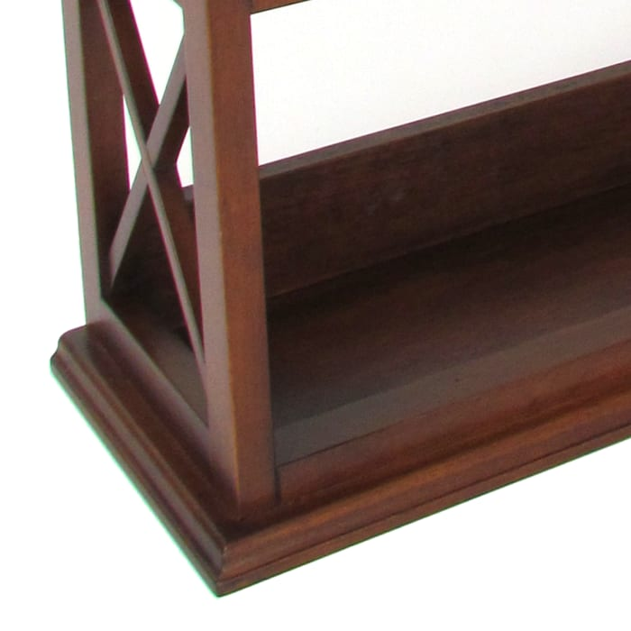 Brown Wooden X Sides Wall Display Rack with 2 Drawers and 2 Open Shelves