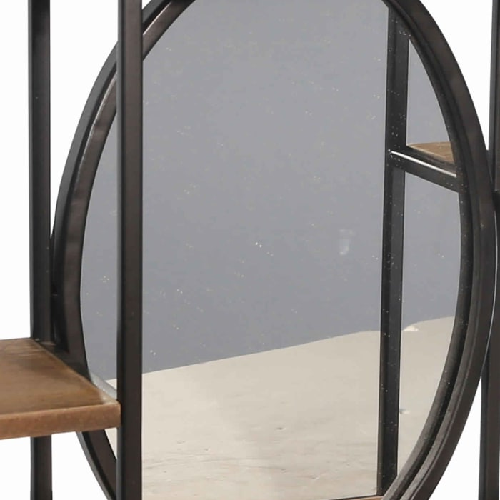 Brown and Black Wood and Metal Rectangular 3 Tier with Mirror Wall Shelf