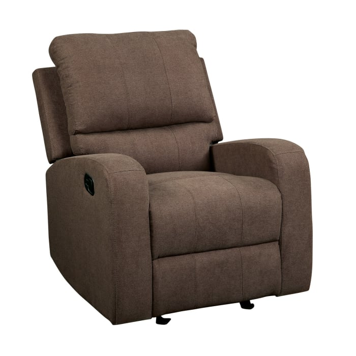 Metal and Fabric Brown Reclining Club Chair
