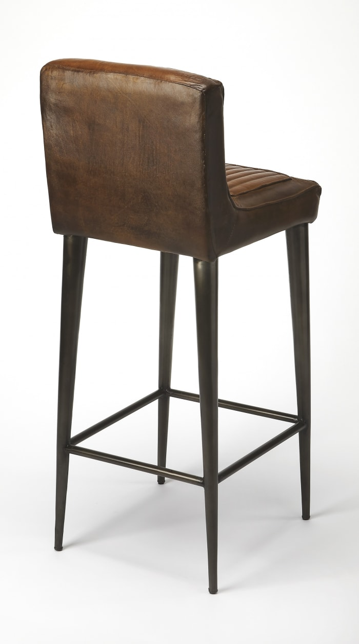 Dark Brown Leather Bar Stool