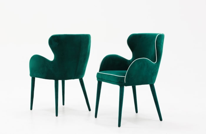 Modern Green Velvet with White Trim Set of 2 Dining Chairs
