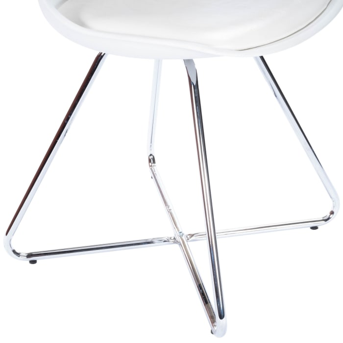 Silver and White Faux Leather Dining Chair