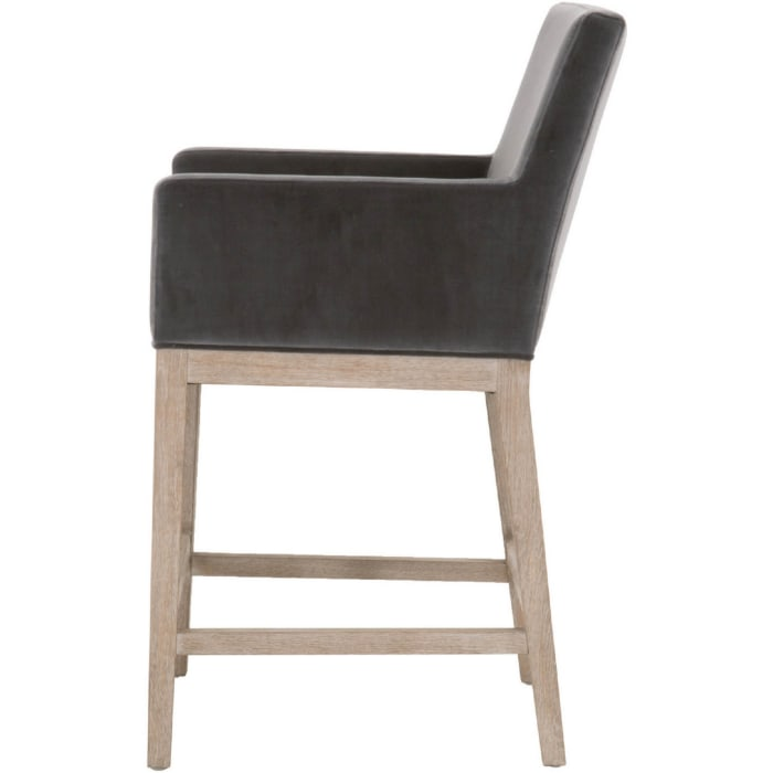 Gray and Distressed Brown Track Arms Fabric Counter Stool