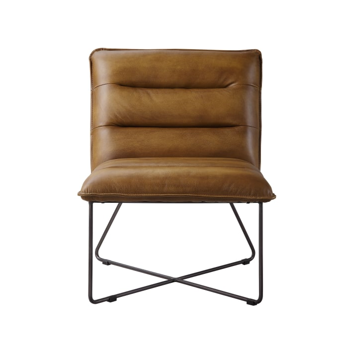 Brown Horizontal Tufted Accent Chair