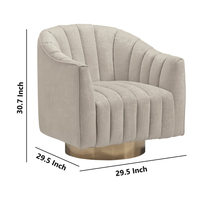Round Plinth Base Swivel Accent Chair