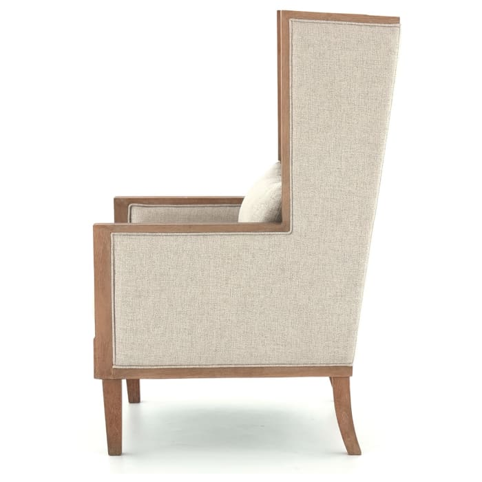 High Wingback Track Arm Wooden Frame Accent Chair