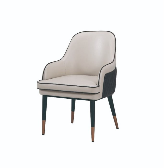 Gray and Brown Mid Century Leatherette Armchair
