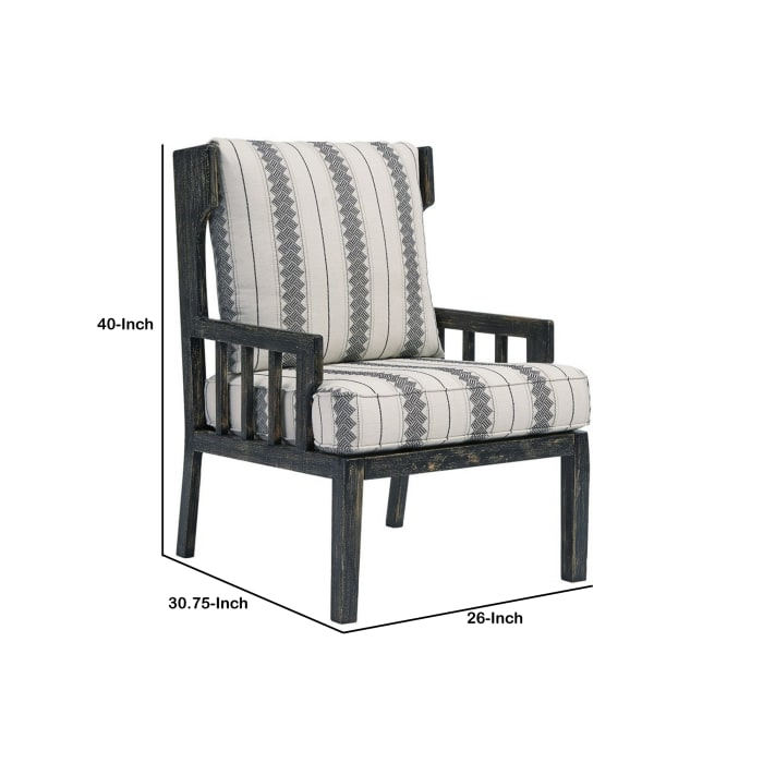Tribal Pattern Wooden Accent Chair