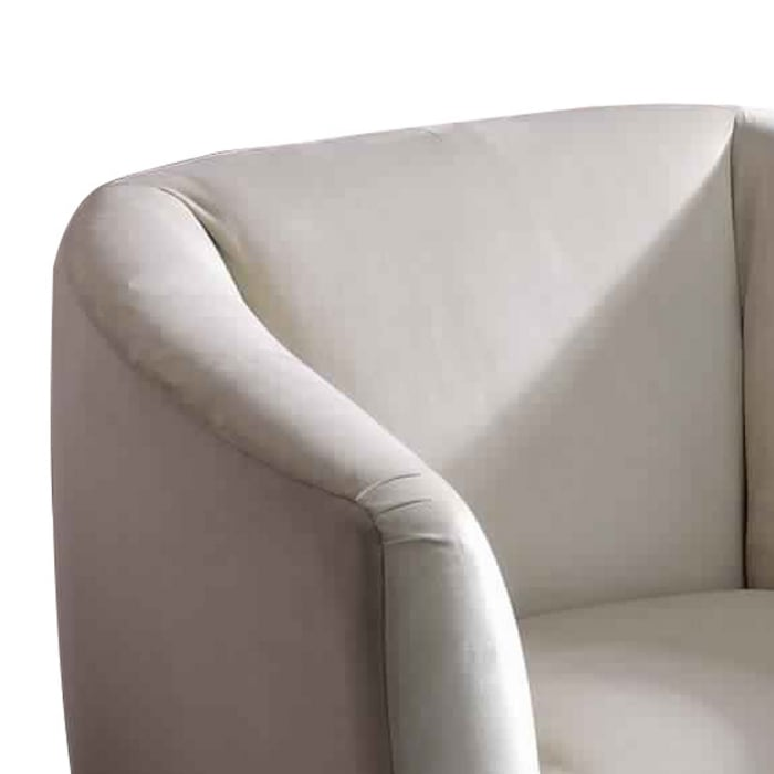 Beige and Chrome Accent Chair