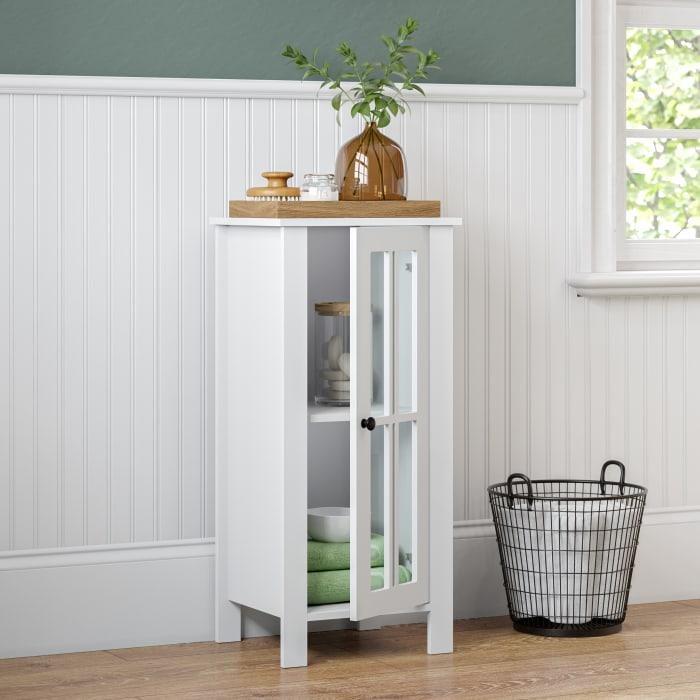 Danbury Single Door Floor Cabinet - White