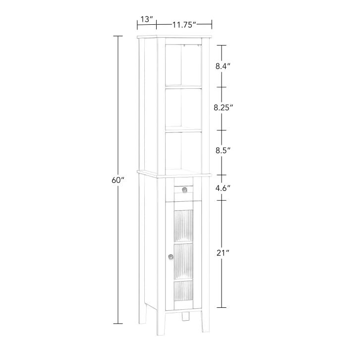 Prescott White Slim Tall Cabinet
