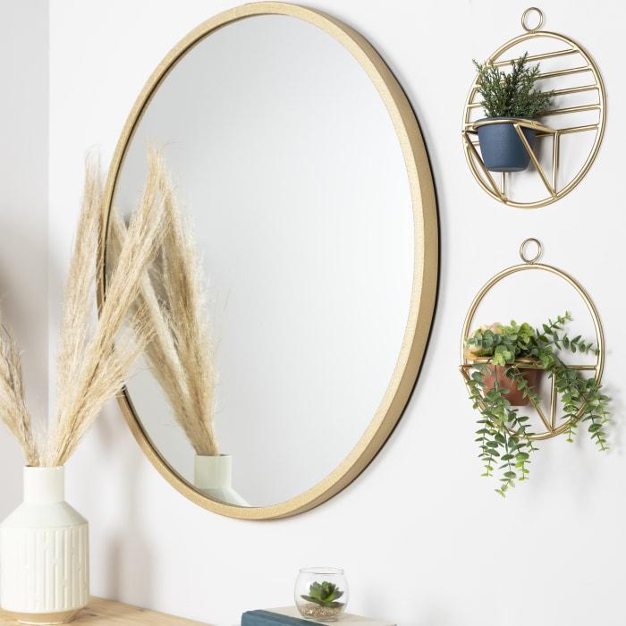 Set of 2 Gold Circular Wall Planters