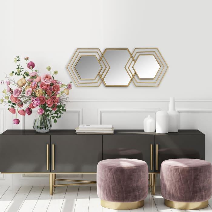 Gold Hexagon Trio Modern Wall Mirror