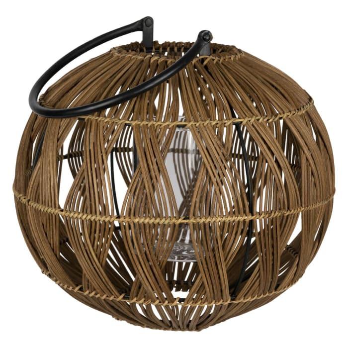 Round Rustic Brown Bamboo Lantern