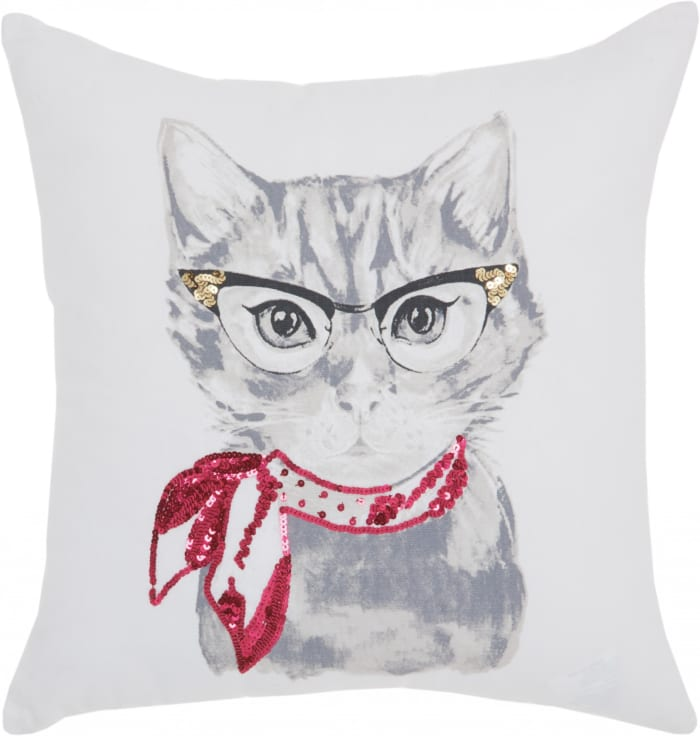 White and Red Cool Kitty Throw Pillow