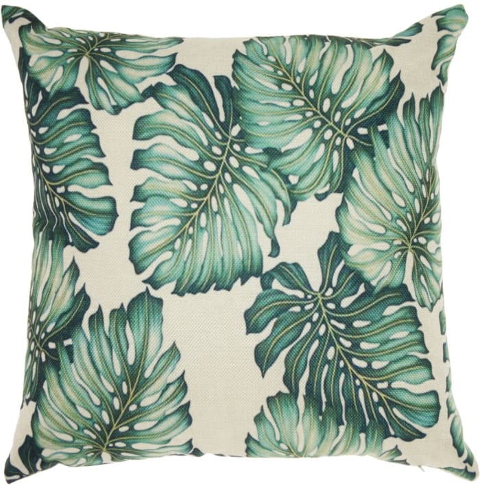 Palm Leaves Green Outdoor Throw Pillow