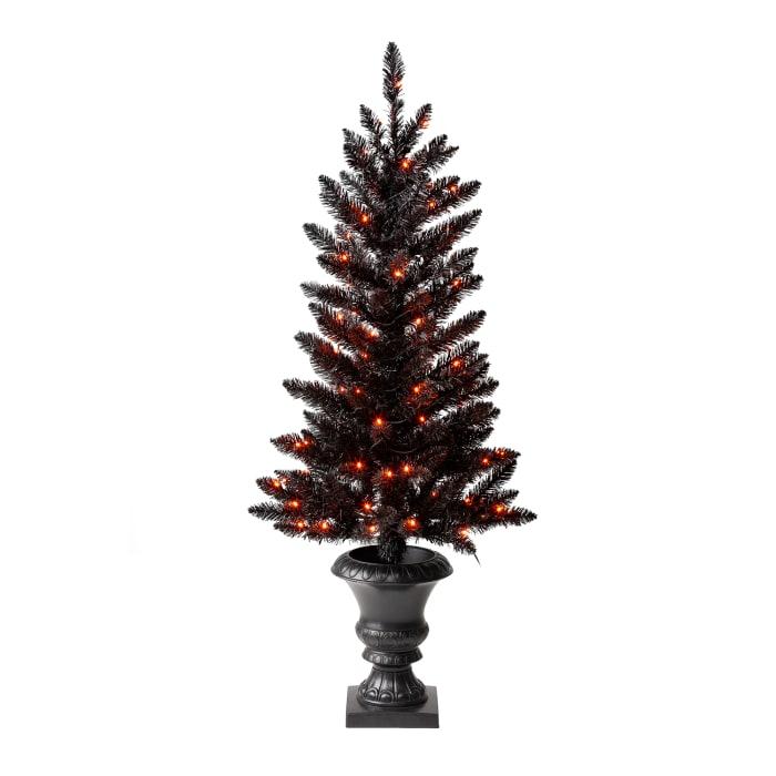 48 in. Black Porch Tree with 100 LED Orange Lights